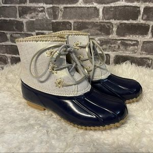 Jack Rogers Chloe duck boots midnight silver